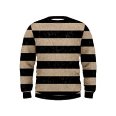 Stripes2 Black Marble & Sand Kids  Sweatshirt