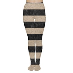Stripes2 Black Marble & Sand Women s Tights
