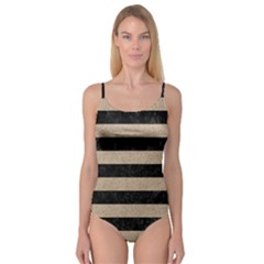 Stripes2 Black Marble & Sand Camisole Leotard