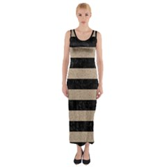 Stripes2 Black Marble & Sand Fitted Maxi Dress