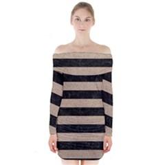 Stripes2 Black Marble & Sand Long Sleeve Off Shoulder Dress