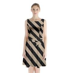 Stripes3 Black Marble & Sand Sleeveless Waist Tie Chiffon Dress
