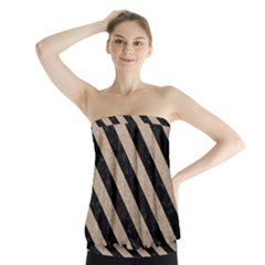 Stripes3 Black Marble & Sand Strapless Top