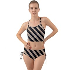 Stripes3 Black Marble & Sand Mini Tank Bikini Set