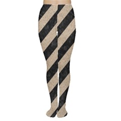 Stripes3 Black Marble & Sand (r) Women s Tights
