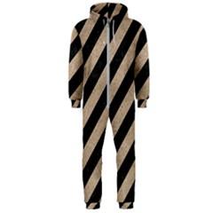 Stripes3 Black Marble & Sand (r) Hooded Jumpsuit (men)