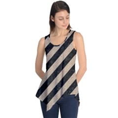 Stripes3 Black Marble & Sand (r) Sleeveless Tunic