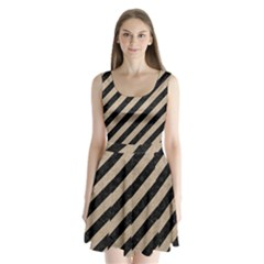 Stripes3 Black Marble & Sand (r) Split Back Mini Dress