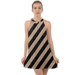 Stripes3 Black Marble & Sand (r) Halter Tie Back Chiffon Dress