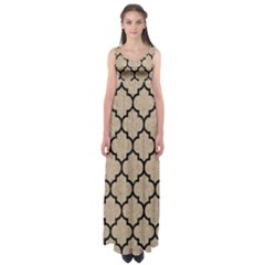 Tile1 Black Marble & Sand Empire Waist Maxi Dress