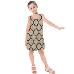 Tile1 Black Marble & Sand Kids  Sleeveless Dress