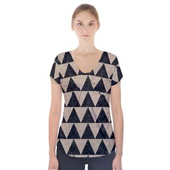 Triangle2 Black Marble & Sand Short Sleeve Front Detail Top