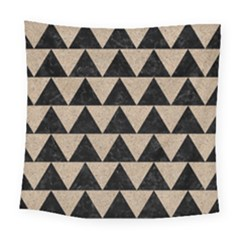 Triangle2 Black Marble & Sand Square Tapestry (large)