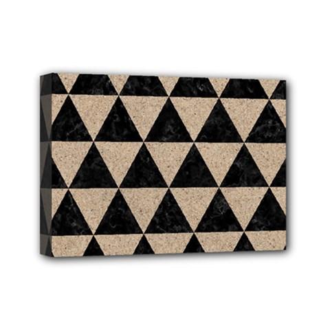 Triangle3 Black Marble & Sand Mini Canvas 7  X 5