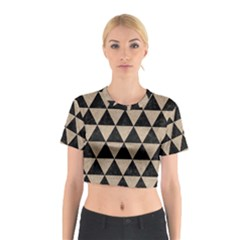 Triangle3 Black Marble & Sand Cotton Crop Top