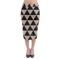 Triangle3 Black Marble & Sand Midi Pencil Skirt