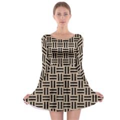 Woven1 Black Marble & Sand Long Sleeve Skater Dress
