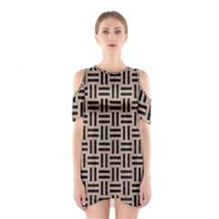 Woven1 Black Marble & Sand Shoulder Cutout One Piece