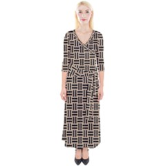 Woven1 Black Marble & Sand Quarter Sleeve Wrap Maxi Dress