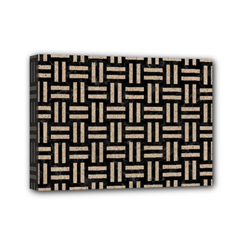 Woven1 Black Marble & Sand (r) Mini Canvas 7  X 5