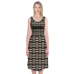 Woven1 Black Marble & Sand (r) Midi Sleeveless Dress