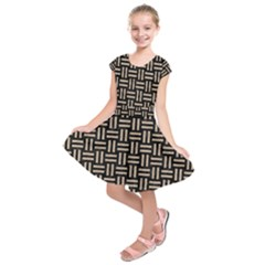 Woven1 Black Marble & Sand (r) Kids  Short Sleeve Dress