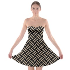 Woven2 Black Marble & Sand (r) Strapless Bra Top Dress