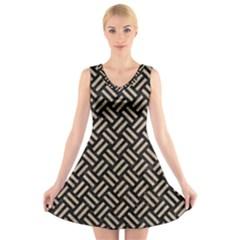 Woven2 Black Marble & Sand (r) V Neck Sleeveless Skater Dress