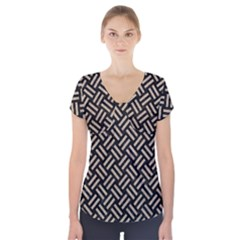 Woven2 Black Marble & Sand (r) Short Sleeve Front Detail Top