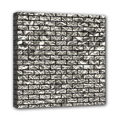 Brick1 Black Marble & Silver Foil Mini Canvas 8  X 8