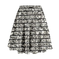 Brick1 Black Marble & Silver Foil High Waist Skirt