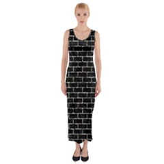 Brick1 Black Marble & Silver Foil (r) Fitted Maxi Dress