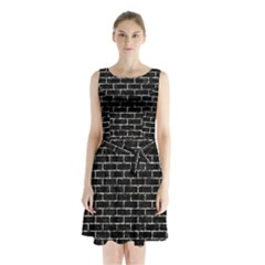 Brick1 Black Marble & Silver Foil (r) Sleeveless Waist Tie Chiffon Dress