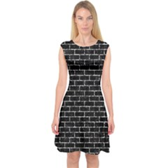 Brick1 Black Marble & Silver Foil (r) Capsleeve Midi Dress
