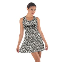 Brick2 Black Marble & Silver Foil Cotton Racerback Dress