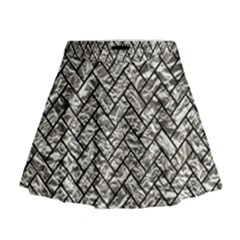 Brick2 Black Marble & Silver Foil Mini Flare Skirt