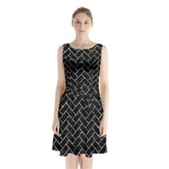 Brick2 Black Marble & Silver Foil (r) Sleeveless Waist Tie Chiffon Dress