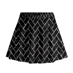 Brick2 Black Marble & Silver Foil (r) Mini Flare Skirt