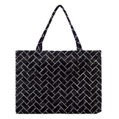 Brick2 Black Marble & Silver Foil (r) Medium Tote Bag