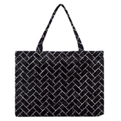 Brick2 Black Marble & Silver Foil (r) Zipper Medium Tote Bag