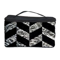 Chevron1 Black Marble & Silver Foil Cosmetic Storage Case