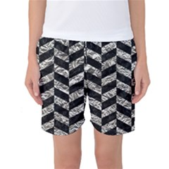 Chevron1 Black Marble & Silver Foil Women s Basketball Shorts