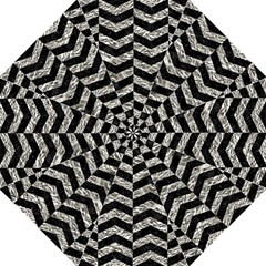 Chevron2 Black Marble & Silver Foil Folding Umbrellas