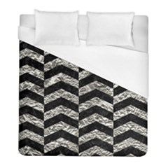 Chevron2 Black Marble & Silver Foil Duvet Cover (full/ Double Size)