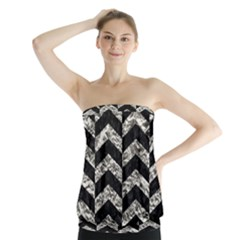 Chevron2 Black Marble & Silver Foil Strapless Top