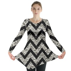 Chevron9 Black Marble & Silver Foil Long Sleeve Tunic