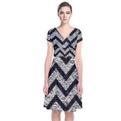 Chevron9 Black Marble & Silver Foil Short Sleeve Front Wrap Dress