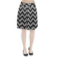 Chevron9 Black Marble & Silver Foil Pleated Skirt
