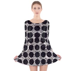 Circles1 Black Marble & Silver Foil Long Sleeve Velvet Skater Dress