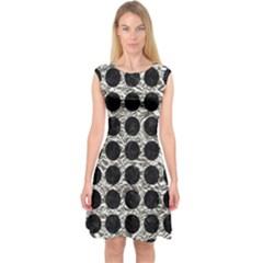 Circles1 Black Marble & Silver Foil Capsleeve Midi Dress